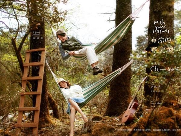 婚紗旅拍攝影道具外景戶外吊床單人加厚帆布吊椅影樓拍照道具秋千