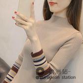 針織衫/半高領毛衣女加厚秋冬新款短款修身慵懶套頭針織打底衫女長袖線衣