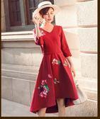現貨不退換紅M長袖洋裝連身裙禮服25715