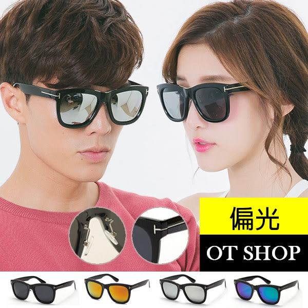 OT SHOP太陽眼鏡‧抗UV400‧韓風反光鏡偏光彩膜墨鏡加高鼻墊超好戴亮黑/反光黑‧現貨‧H02