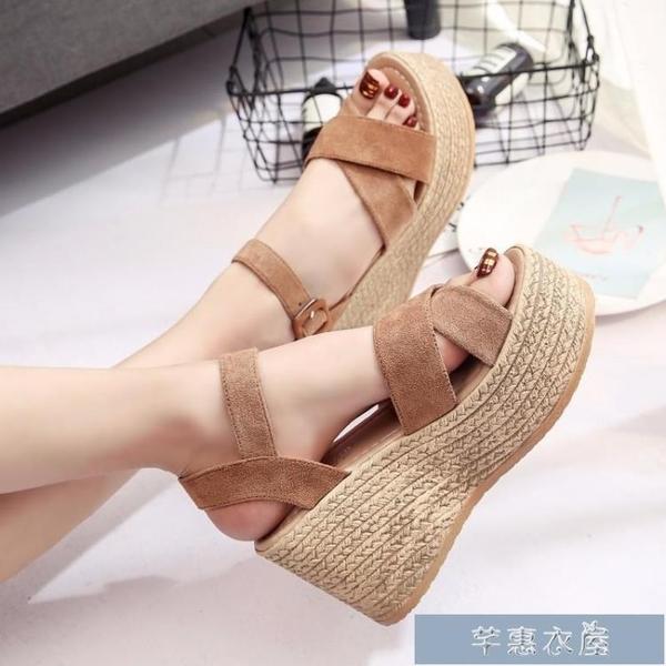 厚底涼鞋新款夏季魚嘴鬆糕涼鞋女坡跟厚底女鞋高跟防水臺絨面韓版女鞋 快速出貨