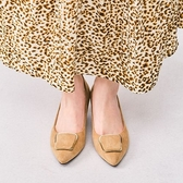 【ORiental TRaffic】摩登金屬方釦中跟鞋-溫柔米