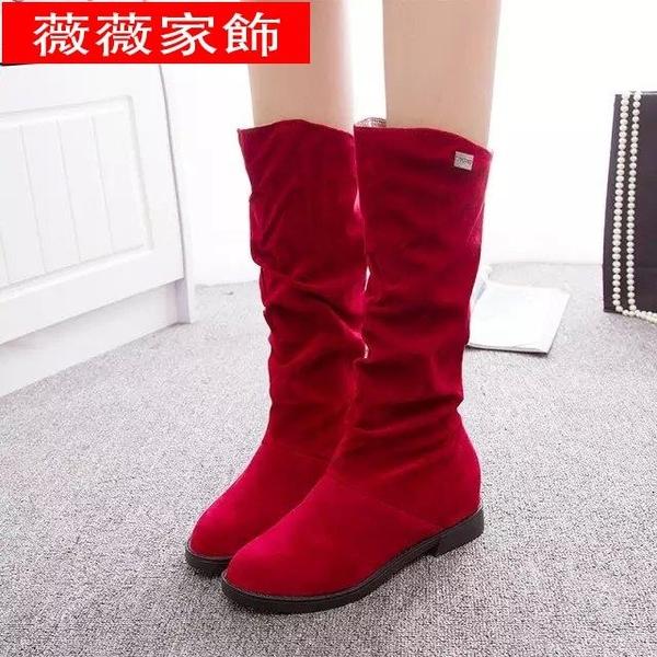 長靴 2021秋冬新款長靴學生坡跟長筒靴絨面內增高平底高筒靴中筒女靴子 薇薇