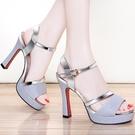 法式小涼鞋女鞋2021年新款高跟細跟魚嘴百搭仙女風夏季時裝女鞋子