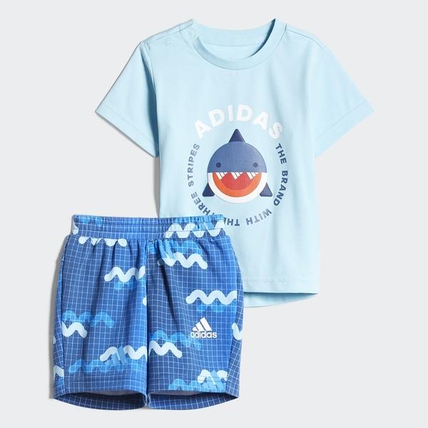 【現貨】Adidas HEAT.RDY 童裝 小童 套裝 短袖 短褲 T恤 鯊魚 白 藍【運動世界】GP0359