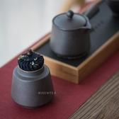 聞說|日式鐵銹釉茶葉罐密封粗陶茶倉存茶罐陶瓷藏藍花布款Mandyc
