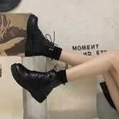 短靴 ann馬丁靴女英倫風年夏季薄款百搭透氣春秋單靴瘦瘦短靴潮ins 芊墨左岸