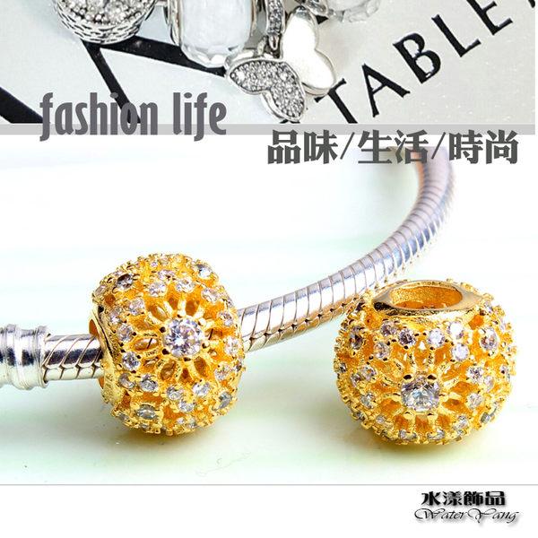 韓版純銀鏤空珠子散珠  DIY手鏈串珠配件