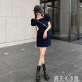 日系復古牛仔裙子夏季方領泡泡袖氣質短裙新款法式淑女洋裝 錢夫人小鋪