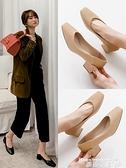 粗跟鞋 高跟鞋女粗跟2021年新款百搭春季方頭中跟軟皮奶奶鞋裸色春款單鞋 曼慕