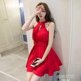 夜場女裝性感氣質女夏季短裙子顯瘦掛脖夜店小心機洋裝 韓語空間