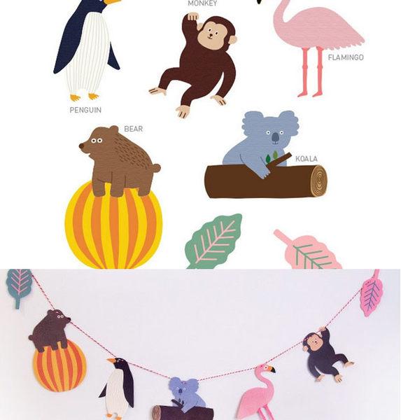 《花花創意会社》熱帶雨林動物。可愛彩旗裝飾【H4372】