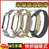 小米手環5米蘭金屬不銹鋼磁吸快拆錶帶腕帶 金屬錶帶 磁吸錶帶 贈手環保護膜