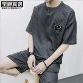 夏季新款韓版男士短袖圓領t恤衫潮男休閒五分褲運動套裝半袖褂子【限時八五折】