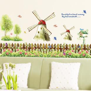 壁貼 創意壁貼 鄉村風 田園風車 透明膜牆貼紙家裝貼可移除牆貼紙 壁貼壁紙 無痕壁貼【A3056】