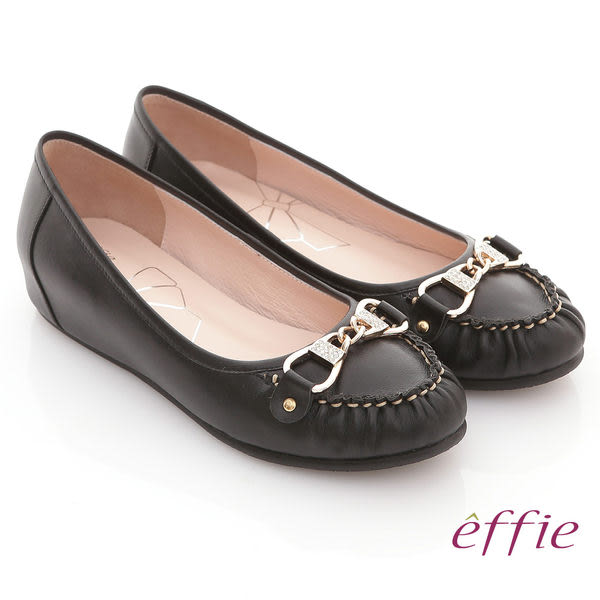 effie 俏麗悠活 水鑽金扣內增高平底鞋 黑