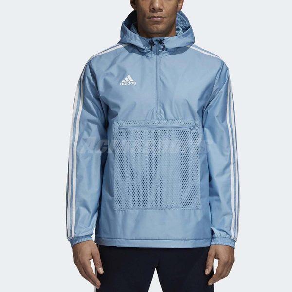 adidas 衝鋒衣 Tango WindBreaker 水藍 白 三條線 防風上衣 長袖 男款 【PUMP306】CZ3978