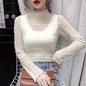 現貨寄出 網紗打底衫t恤女秋冬新款韓版修身氣質內搭木耳邊長袖上衣潮