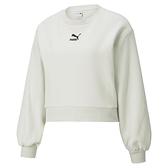 PUMA Classics 女款白色長袖造型圓領衫-NO.53027705
