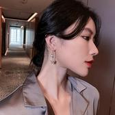 水晶五角星高級感耳環復古耳墜女年新款潮韓國網紅氣質長耳飾