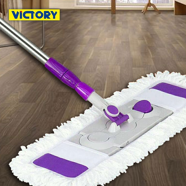 【VICTORY】乾濕兩用扣式大平板拖把(2拖6布)(纖維布+綿紗布)