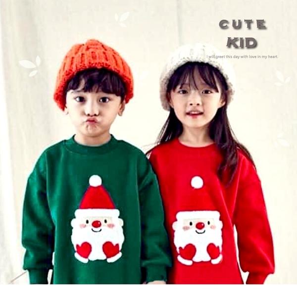 純棉 可愛毛繡線愛心聖誕老公公縮口長版刷毛T 聖誕 男童上衣 女童上衣 厚 兒童長袖 冬童裝