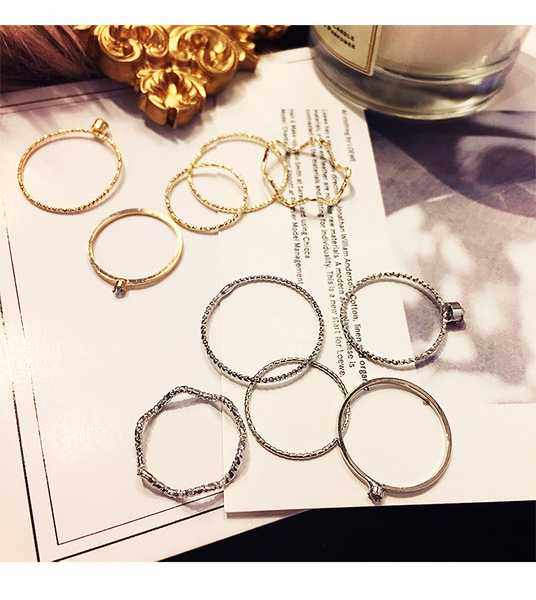 《花花創意會社》外流。五件式磨砂戒指組。二色【H5803】