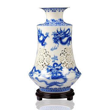 陶瓷器 手工釉中彩牙雙層鏤空龍花瓶 裝飾工藝禮品