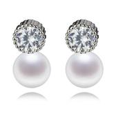 珍珠耳環 925純銀-7-7.5mm圓型鑲鑽生日情人節禮物女飾品73lw30【時尚巴黎】