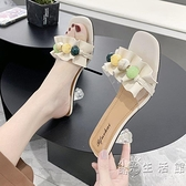 拖鞋女夏2021年新款女一字拖網紅半拖鞋高跟方頭粗跟涼拖鞋女外穿 小時光生活館