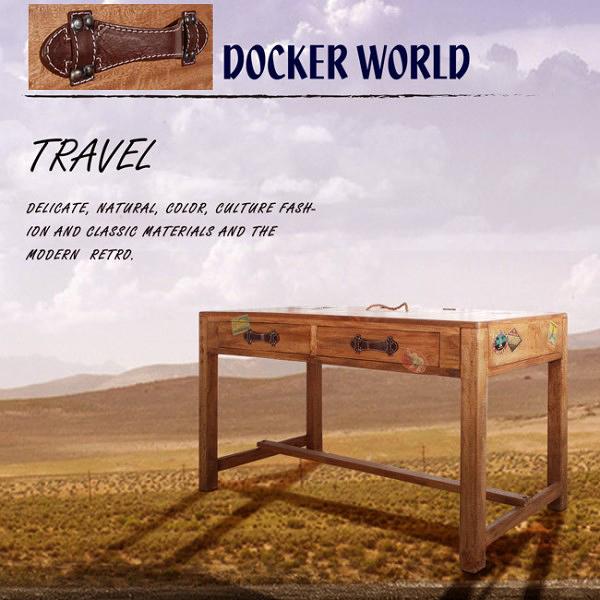 [客尊屋][免運費]典尚古風/Docker World- Desk 2Drawers 個性工作桌/電腦桌/書桌