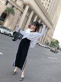 VK精品服飾 韓國風寬鬆休閒V領兩穿防曬上衣開叉裙套裝長袖裙裝