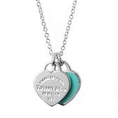 Tiffany&Co. Return to Tiffany 迷你雙心純銀18吋項鍊 經典藍