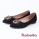 itabella.造型金屬尖頭包鞋(8594-90黑色)