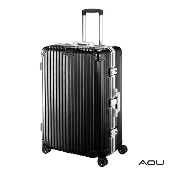 AOU 絕美時尚系列 25吋全面強化德國PC材料專利行李箱 (搖滾黑) 90-025B