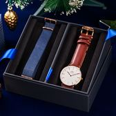 DW 禮盒 聖誕節氣氛 40mm 簡約棕色玫瑰金腕錶+藍色尼龍錶帶 DW00100006COMBO 熱賣中!
