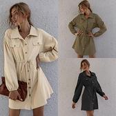 降價兩天 襯衫洋裝 2020秋款洋裝 熱賣時尚簡約雙口袋排扣腰帶襯衫連身裙女