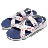 Nike 休閒涼鞋 W Roshe One Sandal Print 藍 白 花卉 輕量 綁帶 涼鞋 女鞋【PUMP306】 832644-155