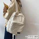 帆布後背包 簡約百搭純色後背包女森系復古帆布背包中小款ins書包女大中學生 曼慕