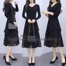 依多多 秋冬新款氣質裝V領黑色過膝配大衣打底長款針織蕾絲洋裝