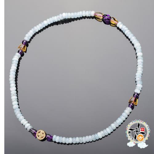 十字杵(銅鎏金)天河石108念珠3*6mm 【 十方佛教文物】