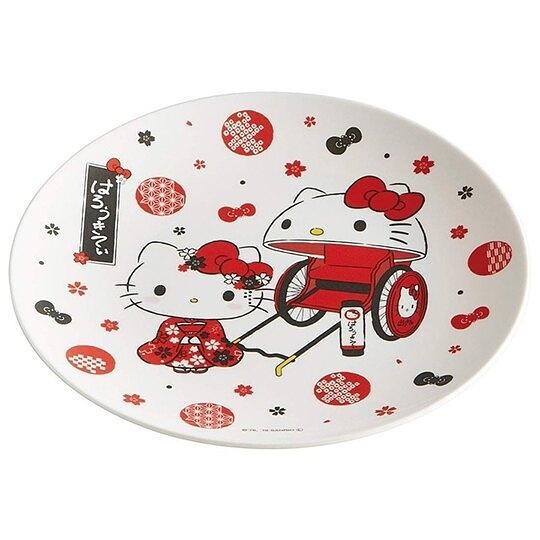小禮堂 Hello Kitty 美耐皿盤 圓盤 淺盤 點心盤 塑膠盤 (紅白 人力車) 4973307-49103