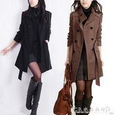 秋冬加肥加大碼毛呢外套女韓版修身中長款雙排扣呢子大衣 水晶鞋坊