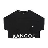 KANGOL 女款黑下擺大LOGO短版長袖上衣-NO.6052100120