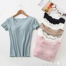 女帶胸墊短袖上衣半袖打底衫文胸罩杯一體式背心瑜伽睡衣上衣夏季-Ballet朵朵