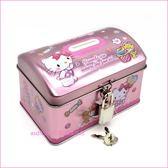 asdfkitty可愛家☆KITTY亮粉色糖果鐵皮存錢筒/撲滿/儲金箱-附鎖-日本正版商品