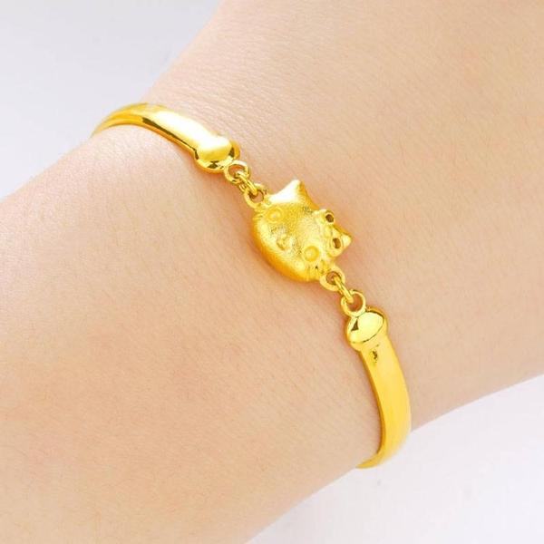 仿真黃金手鏈女精美轉運珠路路通沙金年年有魚招財貔貅手鏈首飾品