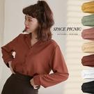 襯衫 Space Picnic|素面劍領長袖雪紡襯衫(預購)【C20081092】