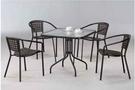 【 C . L 居家生活館 】F-876 黑管休閒桌椅組(一桌四椅)(黑)/黑色管方桌 寬81*深81*高72 cm