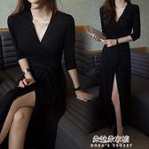 開衫深V禮服收腰莫代爾垂感中袖氣質黑色長裙洋裝  朵拉朵衣櫥